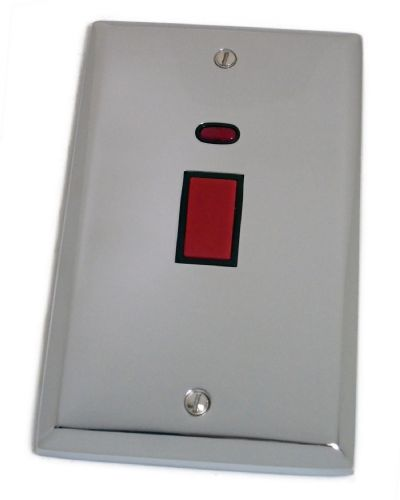 G&H SC28B Spectrum Plate Polished Chrome 45 Amp DP Cooker Switch & Neon Vertical Plate